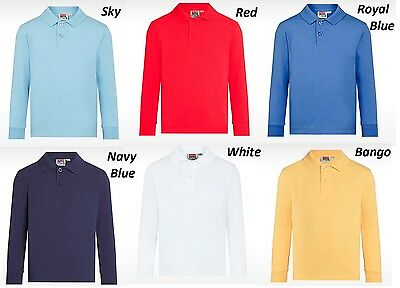 DAVID LUKE LONG SLEEVE POLO SHIRT GIRLS BOYS UNIFORM SCHOOL Age 2-10 Yrs S-XL