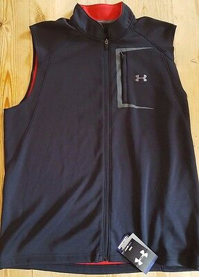 Under Armour Mens Stableford II Golf vest Black/red 1204285 slzes, S,M,L,XXL