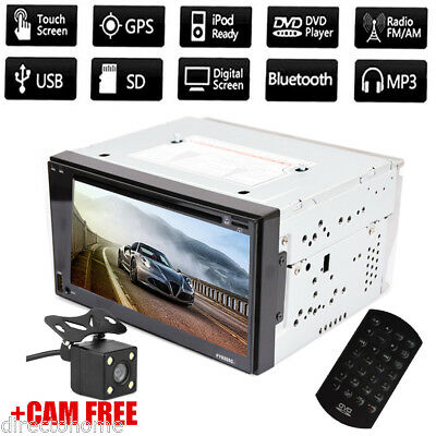 """6.2"""" 2 DIN HD Autoradio Stereo DVD/MP3/FM/AM/USB/SD/AUX-IN Player BT Capacitive"""