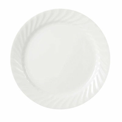 4 New Corelle Enhancements White Swirl  Lunch Luncheon Plates 9""