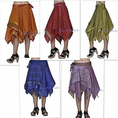Lot OF 5 Stylish Silk Women Wrap Around Short Skirt For Top Tunic Kurti Free Sz