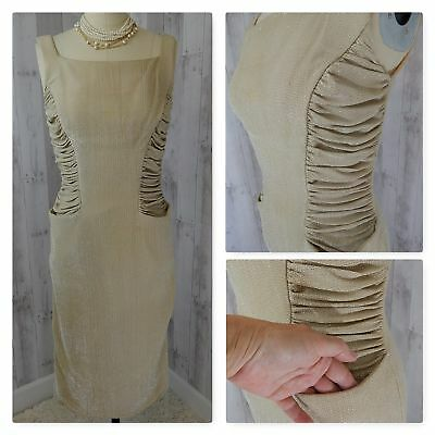 1940s True Vintage DRESS~GOLD LAME RUCHED/DRAPED PINUP WIGGLE BODYCON Vtg S/XS