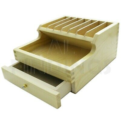 Storage Drawers Bench Tool Organiser Wood Compartments Wooden Pliers Rack