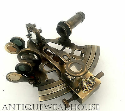 Nautical Antique Brass KELVIN & HUGHES LONDON Sextant Vintage Marine Decor Gift