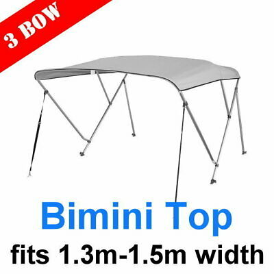 3 Bow 1.3m-1.5m Bimini Top Canopy Cover + Rear Poles & Sock Grey