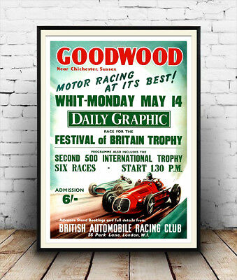 Goodwood motor racing : Vintage advertising , Wall art , poster, Reproduction.