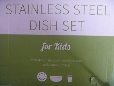 Stainless Steel Dish Set for Kids, with Plate, Bowl, and Cup BPA-free