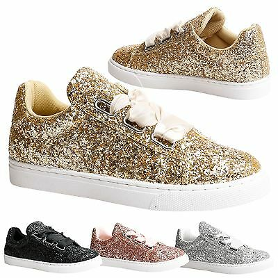 Beda Womens Flats Satin Ribbon Lace Up Trainers Ladies Pumps Skater Style Size