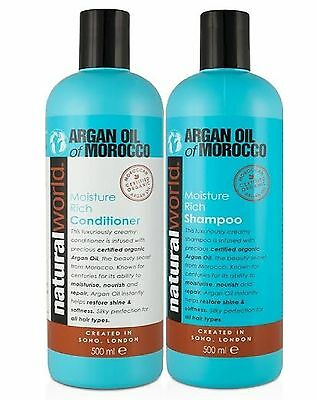 Natural World Moroccan Argan Oil Shampoo/Conditioner - For All Hair - 500ml