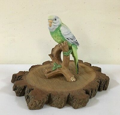 Parakeet Bird Figurine Parrot Hand Painted Porcelain #06008 Vintage Nice