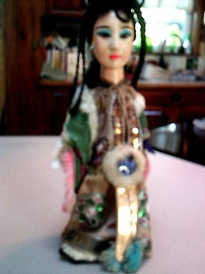 Vintage Asian Doll String Puppet Wood Head Painted Face