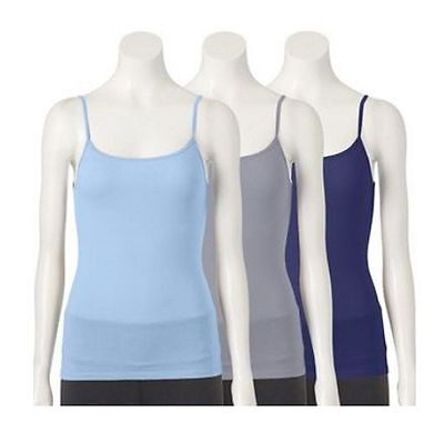 Womens Fruit Of The Loom 3 Pack Cotton Stretch Camisoles New