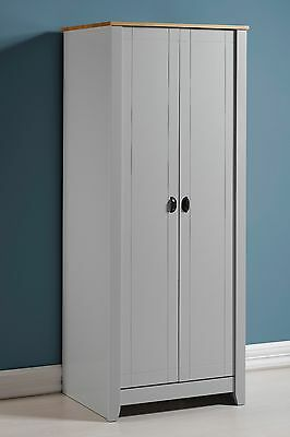 Seconique Ludlow 2 Door Wardrobe in Grey/Oak - Free Delivery