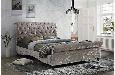 Birlea Brighton Crushed Velvet Bed In Oyster - Free Delivery - Various Sizes