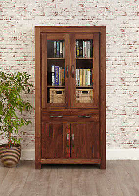 Baumhaus Mayan Walnut Large Glazed Bookcase - Free Delivery
