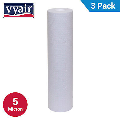 """VYAIR 10"""" PP 5 Micron Particle, Sediment, Reverse Osmosis Water Filter x 3"""