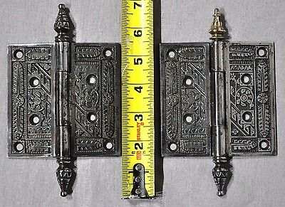2 - VINTAGE NICKEL PLATED Antique ORNATE STEEPLE HINGES Door Hardware Renovation