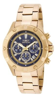 New Invicta Men's 15606 Specialty Gold Tone Blue Dial Chronograph Watch