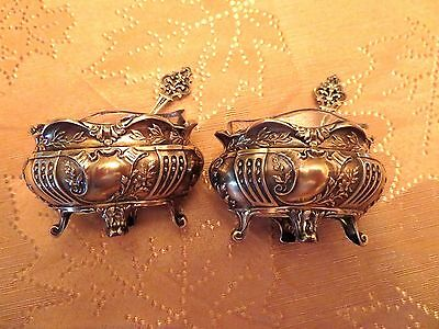 Set of 2 Antique Silver Salt Cellars with Original Glass Containers and Spoons