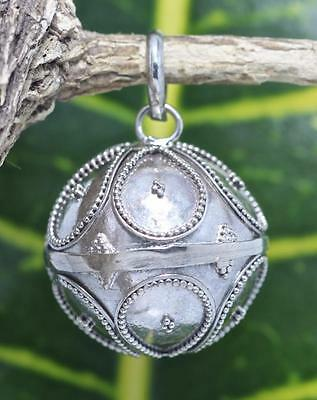 Handmade Sterling Silver 925 Small Bali Style Harmony Chime Ball Pendant 14mm #1
