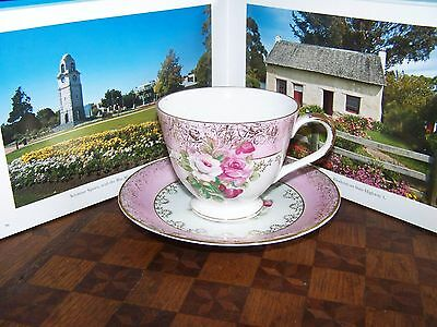 Vintage pink and red roses Napco cup and saucer