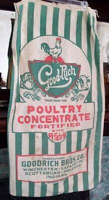 Vintage Feed Sack GoodRich Brothers Co. Chicken 20x39