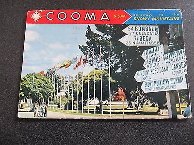 Vintage Foldout Colour View Folder, Cooma NSW- used 1969 cooma postmarked