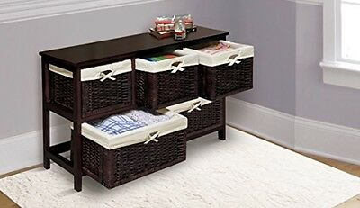 Badger Basket Five Basket Storage Unit with Wicker Baskets Espresso Fabric Liner
