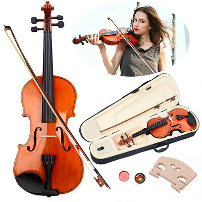 4/4 Full Size Student Violin Size Natural Acoustic Fiddle Varnish+Case+Bow+Rosin