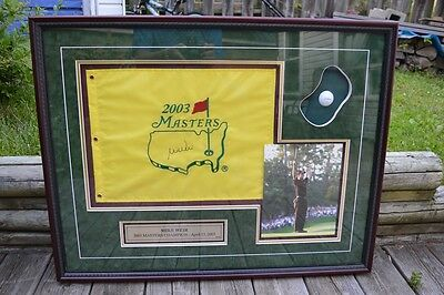 2003 Masters Golf Tournament Framed Photo Ball Flag Signed Mike Weir Canadian