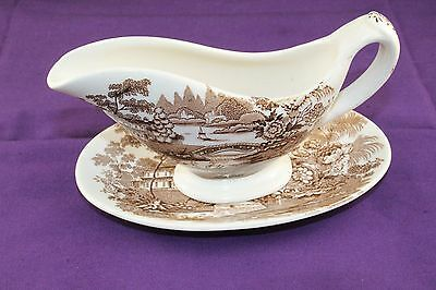 """Royal Staffordshire Tonquin Individual Brown Gravy Boat + Tray  """"Clarice Cliff"""""""