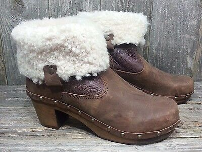 $130 Sanita Women's Wood Kersti Brown Leather Ankle Boots Shoes Size 39 / 8  8.5