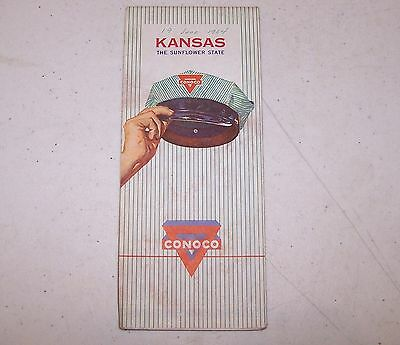 1963 Conoco Kansas The Sunflower State Map