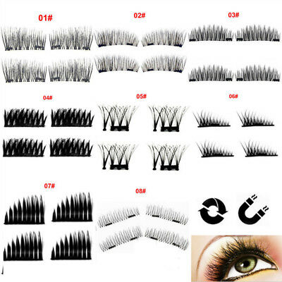 4Pcs Magnetic Long False Eyelashes 3D Natural Extension Handmade Eye Lashes