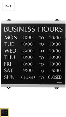 3 Century Series Open / Close Monday - Sunday Business Hours Of Operation Sign