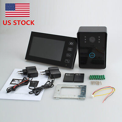 "7"" Wireless Video Door Phone Intercom CCD Camera-1 Monitor with Touch Key Black"