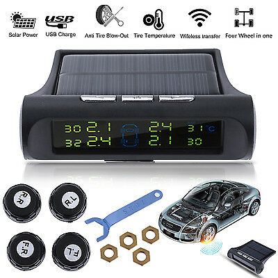 Wireless Car Truck TPMS Tire Pressure LCD Monitor System 4 Sensor Solar Powered