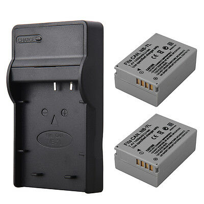 2x NB-7L Replacement Battery+Charger For Canon PowerShot G10 G11 G12 SX30IS Cam