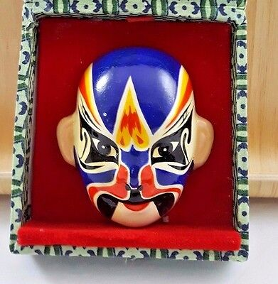 """Chinese Opera Mask - Approximately 2,5"""" In Green Fabric Box With Red Lining"""