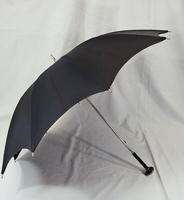 "Vtg Umbrella Parasol with Highly Ornate Jeweled Handle Black 29"" Diameter"