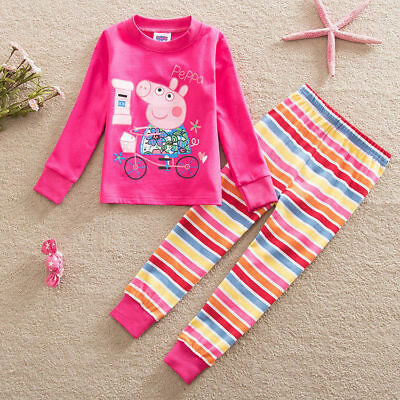 Kids Girls Toddler Peppa Pig Pajama Nightwear Outfit Set Home Wear Clothes 2-7T