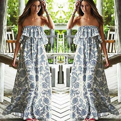 Women Ladies  Print Strapless Boho Long Evening Party Floral Beach Casual Dress