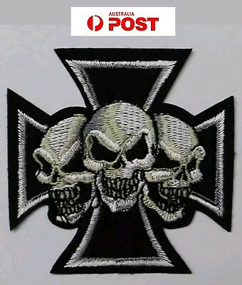 SKULLS CROSS small Biker Motorcycle Vest Embroidered Patch Badge Iron Sew On