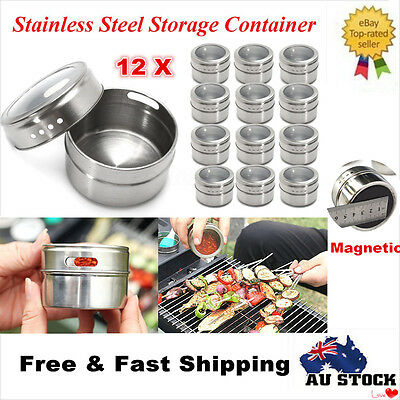 12 x Stainless Steel Magnetic Spice Tins Storage Container Jar Clear Lid Set AU