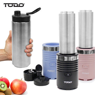 DRINK BULLET BLENDER 600ml THERMO STAINLESS STEEL BOTTLE SMOOTHIE MAKER 300W