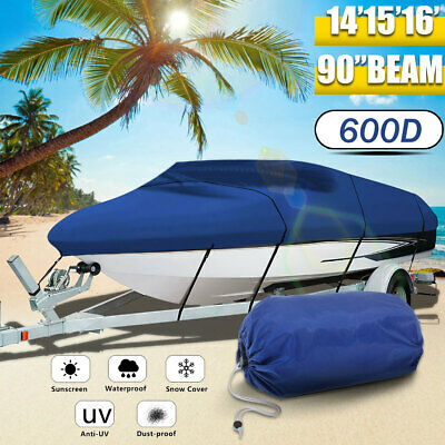 14-16ft Boat Cover UV-Protected Premium Heavy Duty 600D Trailerable Canvas Blue