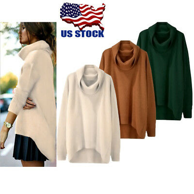 Womens Long Sleeve Loose Knitted Jumper Pullover Top Casual Sweater Coat Outwear