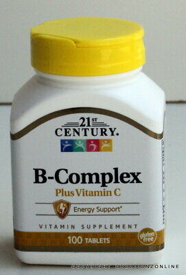 21st CENTURY B COMPLEX + VITAMIN C 1 BOTTLE 100 TABLETS STRESS TIRED BODY ENERGY