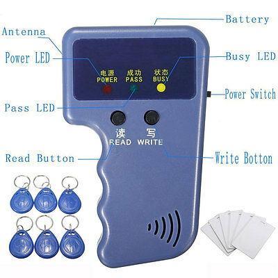 NEW Handheld 125KHz RFID ID Card Copier/ Reader/Writer 6 Writable Tags&Cards US