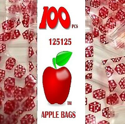 Apple Ziplock zip lock bags Small 100 pcs DICE design 125125 32mm x 32mm